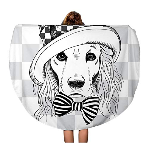 Semtomn 60 Inches Round Beach Towel Blanket Portrait of Dog Cocker Spaniel in Hatter Top Hat Travel Circle Circular Towels Mat Tapestry Beach Throw