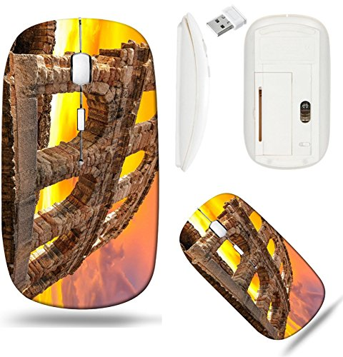 Liili Wireless Mouse White Base Travel 2.4G Wireless Mice with USB Receiver, Click with 1000 DPI for notebook, pc, laptop, computer, mac book The ruins of ancient Roman arena in Verona at sunset XXL s