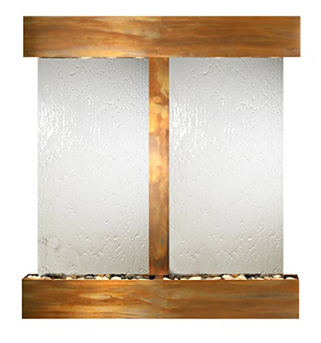 Aspen Falls Water Feature with Rustic Copper Trim and Square Edges (Silver Mirror) ()