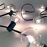 G40, 25 Clear Bulbs on 26Ft. Long Green Wire, UL Listed, Indoor/ Outdoor String Light, Extendable