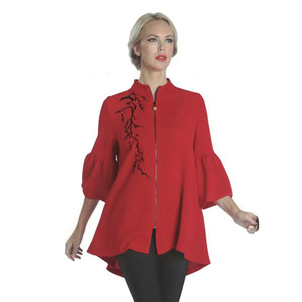 IC Collection Trumpet Sleeve High-Low Swing Style Jacket In Red 1091J (Small)