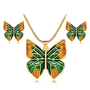 Ezing Handcrafted Enamel Jewelry Set for Women Costume Pendant Necklace Earrings