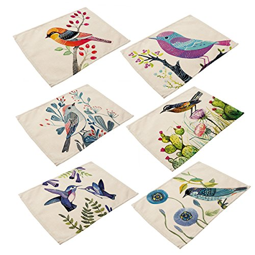 6 In Set Cotton Linen Placemats - Bird Pattern Table Mats Heat-resistant Non-slip Insulation Table Runner for Kitchen Dining Room Table Decoration