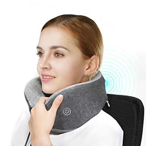 LFwellness Massaging Neck Pillow To Aid Sleep And Relieve Strained Muscles-- Fully Supportive Portable Memory Foam Travel Pillow With A Magnetic Clasp -