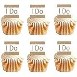I Do Wedding / Engagement Brown Cupcake Decoration Topper Picks - 12ct