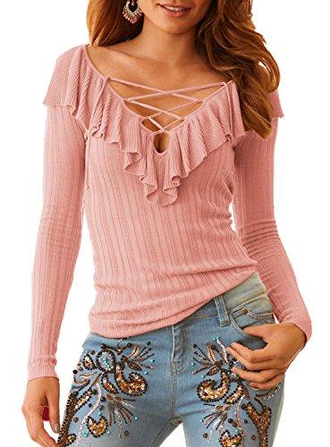Fashion C V Chemises Hauts Couleur Jumper Lotus Col Tee Automne Unie Manches Slim et Shirts Printemps Tops Longues Rose Chemisiers Casual Blouse de Femmes T t Feuille 6wqxPnOf