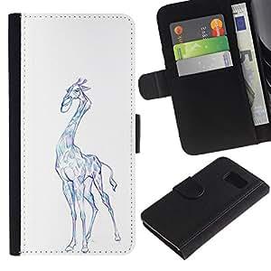 iBinBang / Flip Funda de Cuero Case Cover - Giraffe Art Drawing Colorful Pencil Blue - Samsung Galaxy S6 SM-G920