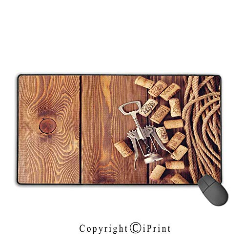 - Mouse pad with Lock,Winery Decor,Wine Corks Over Rustic Wooden Ground Natural Organic Liquor Elements Vintage Harvest Top View,Brown, Non-Slip Rubber Base,15.8