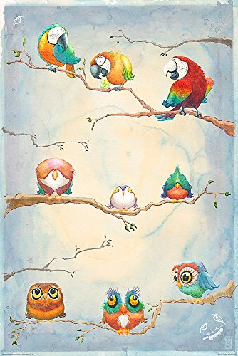 Birds Of A Feather - Art Poster / Print Parrots & Owls Watercolor By Brady Stoehr By Stop Online