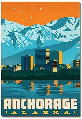 Anchorage, Alaska Vintage Travel Art Refrigerator Magnet Size 2.5
