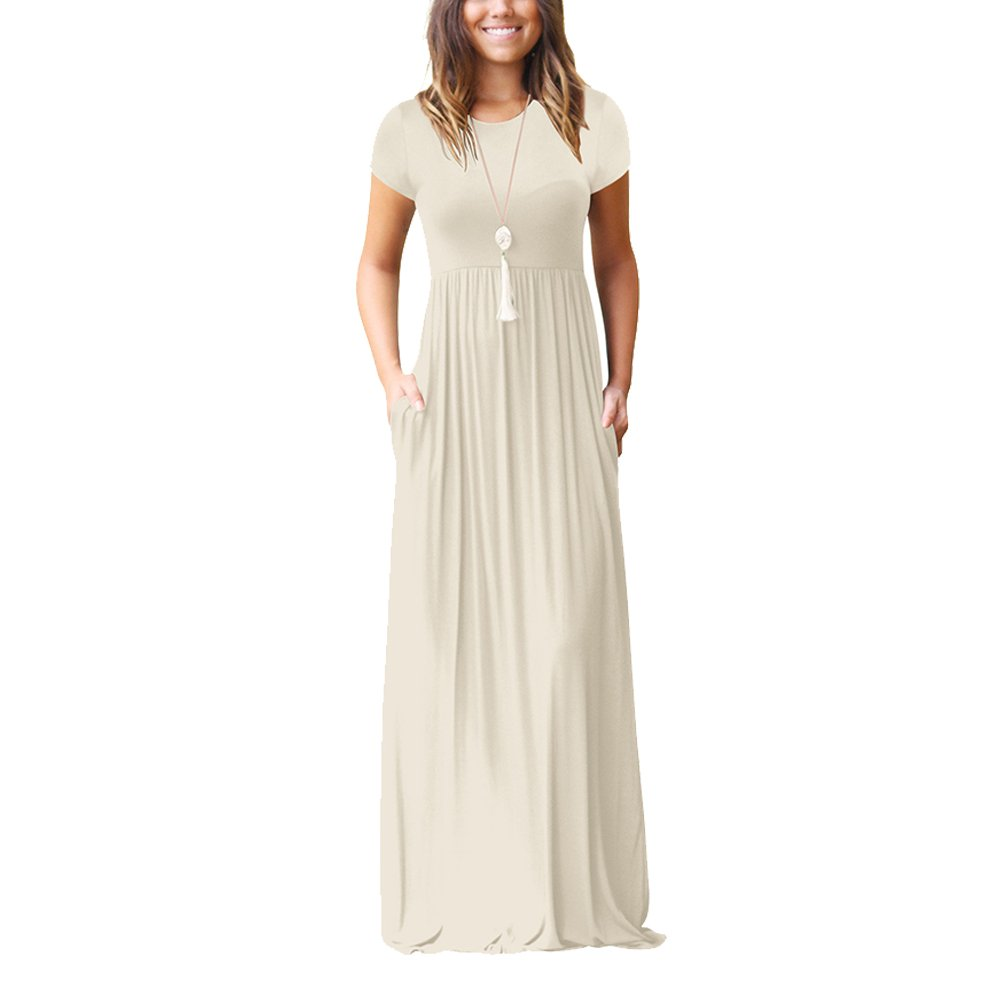 SEBOWEL Womens Short Sleeve Scoop Neck Long Maxi Dress with Pockets Plus Size at Amazon Womens Clothing store:
