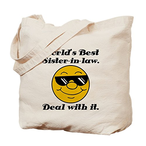 CafePress - World's Best Sister-In-Law Humor - Natural Canvas Tote Bag, Cloth Shopping Bag Sis Custom Fabric