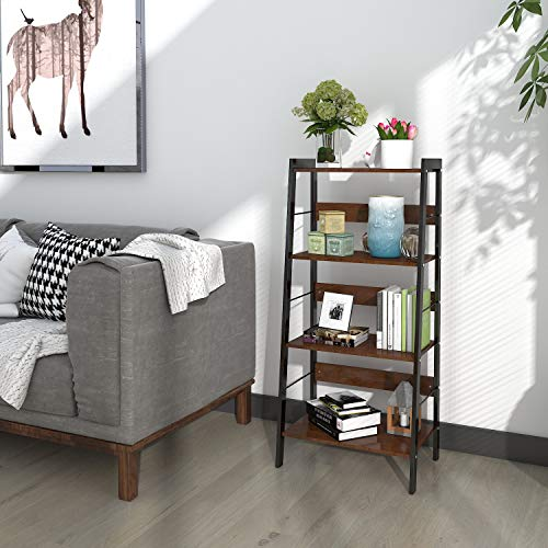 Lifewit Small 4 Tier Leaning Ladder Shelf Bookcase Bookshelf Display Storage Wall Shelves Rack, Carbon Steel & Wood, Brown