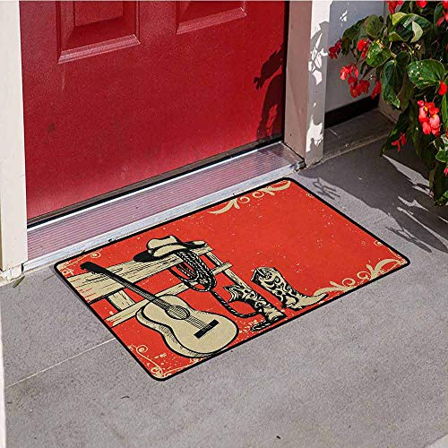 GloriaJohnson Western Inlet Outdoor Door mat Image of Wild West Elements with Country Music Guitar and Cowboy Boots Retro Art Catch dust Snow and mud W15.7 x L23.6 Inch Beige Orange (Best Stone Crab In Key West)