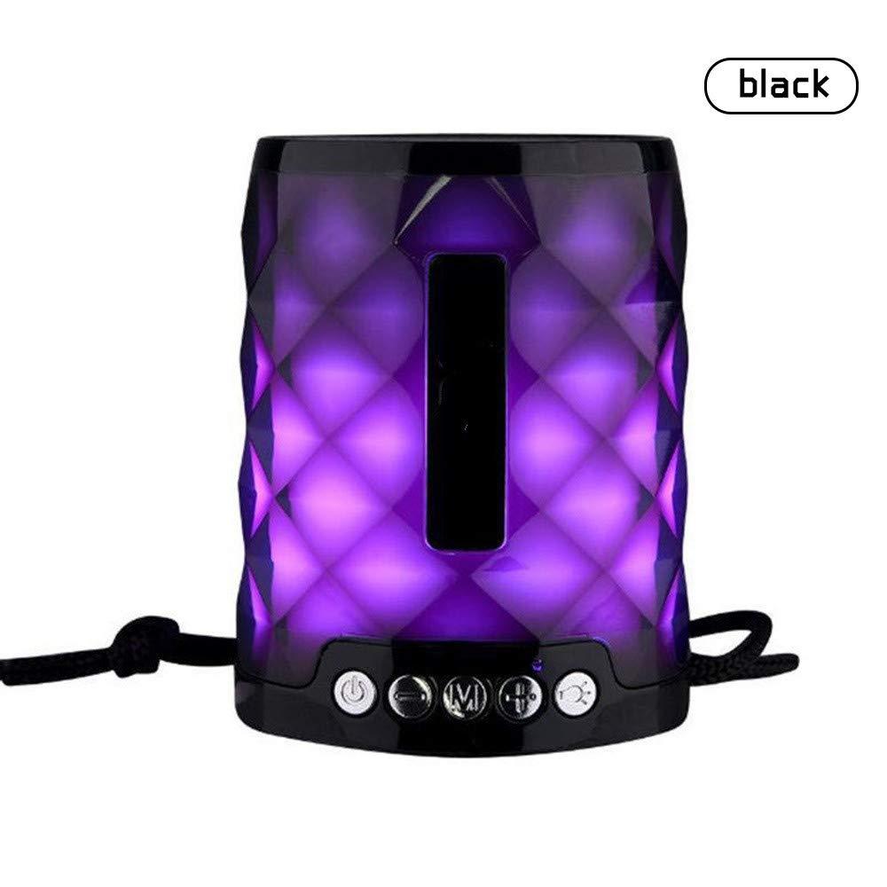 Gshishang ポータブルワイヤレスBluetoothスピーカー クリスタルカラーライト サブウーファー Bluetoothコラム MP3プレーヤーUSB フルレンジミニスピーカー ブラック 6929581737232  ブラック B07QXK23FR