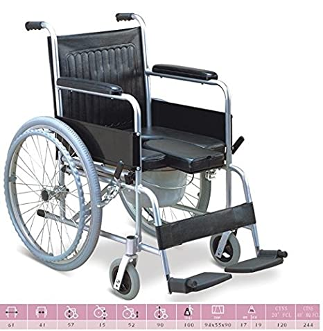 d04f68b264b Buy Chaithanya Orthopaedics Fc Folding Imported Commode Wheel Chair- U Cut  Online at Low Prices in India - Amazon.in