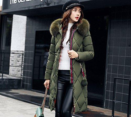 Plus À Wanyang Manteau Facile Femme Capuche Vert Manches Emballage Longues Veste Épais qzp4HAzU