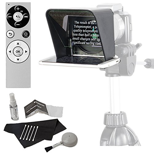 Parrot Teleprompter Version 2 Portable Teleprompter for Smartphone, Genuine Parrot PT Teleprompter Remote with Bluetooth Wireless and Cleaning Kit by Calumet
