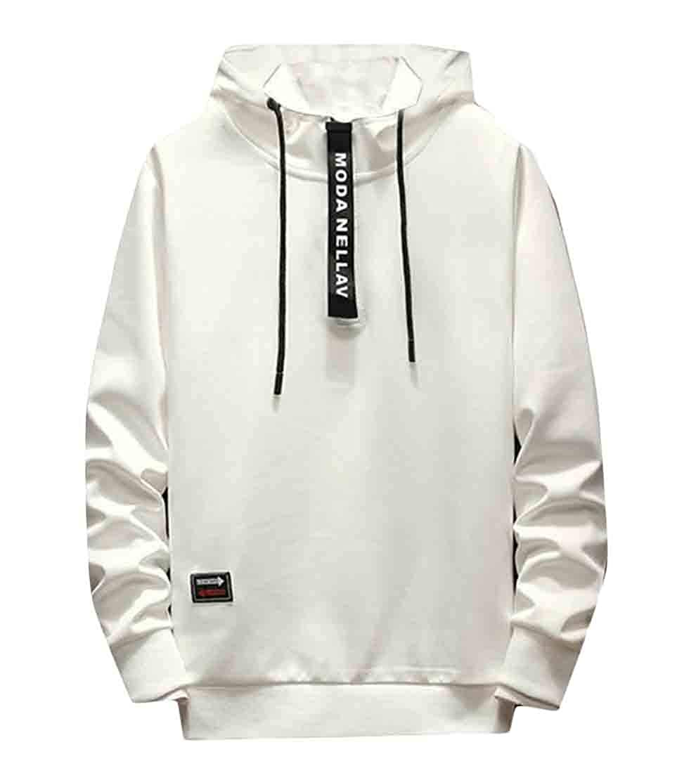 Wofupowga Mens Long Sleeve Hoodie Active Plain Pullover Zipper Sweatshirts