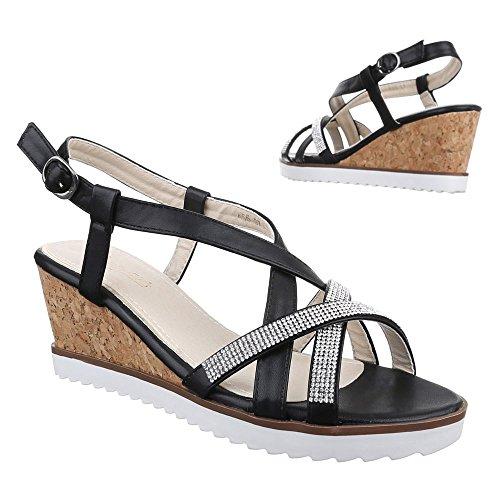 Ital-Design Damen Schuhe, K55, Sandaletten Keil Wedges Pumps Schwarz