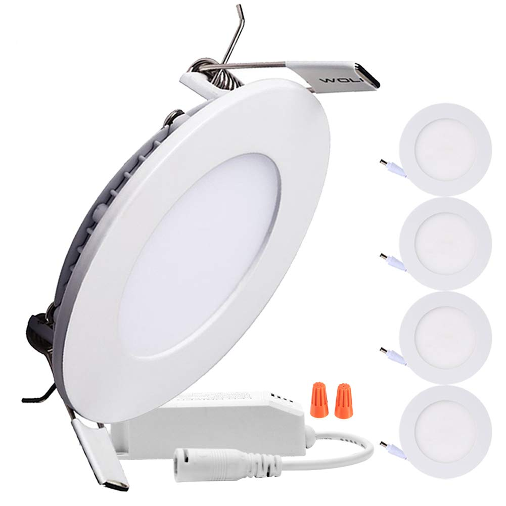 B-right Pack of 5 Units 6W 4-inch Dimmable Round LED Panel Light 480lm Ultra-thin 4000K Daylight White LED Recessed Ceiling Lights for Home Office Commercial Lighting