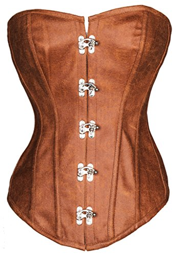 [Alivila.Y Fashion Womens Faux Leather Steel Boned Corset 2030-Brown-2XL] (Brown Leather Corset)