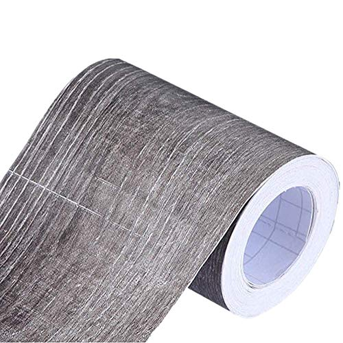 Mullsan 10Meters Gray Wood Wallpaper Border Peel & Stick Wall Covering Kitchen Bathroom Bedroom Tiles Decor - Wall Border 10
