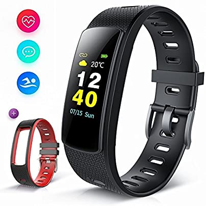 BISOZER Fitness Tracker Color Screen IP67 Waterproof Smart Watch Activity Tracker Heart Rate Monitor Sleep Tracker Pedometer Calorie Counter Sports Watch Bracelet Wristband for Men Women Kids Estimated Price £24.97 -