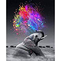 Zowella DIY Paint by Numbers for Adults, Elephant painting, Beginner Oil Painting Kit with Canvas, 3 Soft Brushes and Wood Frame, Classic Wall Art Home Decor