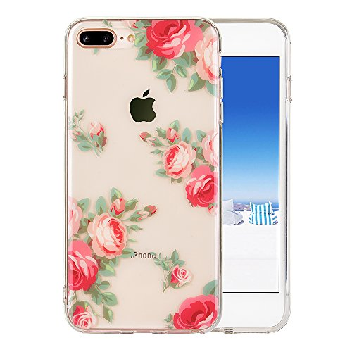 iPhone 8 Plus case, iPhone 7 Plus Case, KIMICO Floral Series clear case with Design [Hard back + Shock absorbing Soft Bumper] [Ultra-Thin] [Scratch-Resistant] Flower Protective Cover (Rosa Red 8+) ()