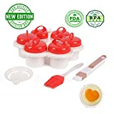 COOKOP Egglettes Egg Cookers, 6 Heart Shaped, BPA free Eggies with 1 Cup Holder, 1 Egg Separator, 1 Oil Brush, 1 Cleaner Brush & Cooking Manual, Hard Boiled Eggs Without the Shell, AS SEEN ON TV