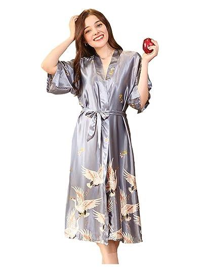 cc03fa55d Krespuka Women's Satin Sleepwear Robes Plus Size Bathrobes at Amazon ...