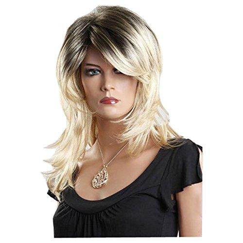 KOLIGHT Root Color Women Wigs Medium Long Hair Wigs Blond Wigs Weaves Real Looking Wigs -