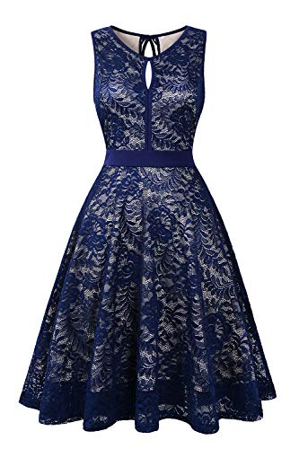 Women#039s Sleeveless Lace Floral Elegant Cocktail Dress Knee Length for Party Navy Blue
