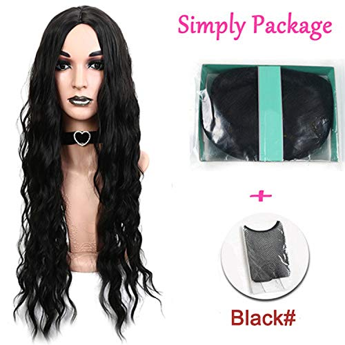 Black Red 26inches Long Water Wavy Wig Heat Resistant Synthetic Hair Wigs Women,#1,26inches ()