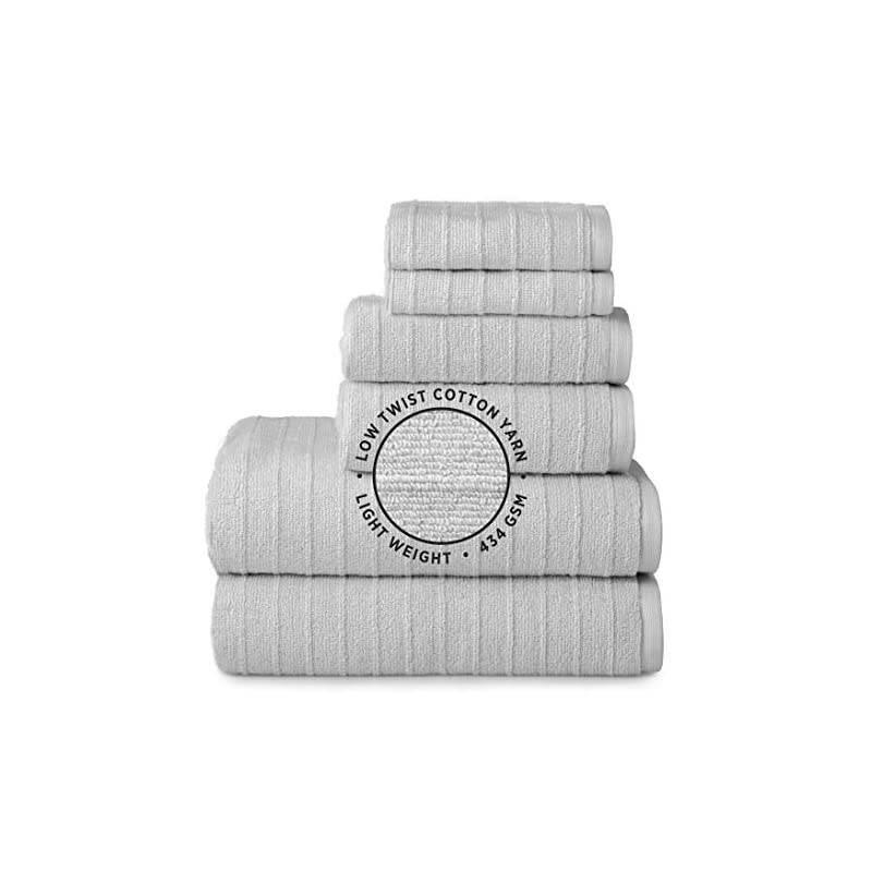 Welhome James 100% Cotton 6 Piece Towel Set | Silver Grey | Stripe Textured | Supersoft & Durable | Highly Absorbent…