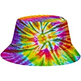 DealinM Adult Children Fashion Casual Bucket Hat 3D Tie-Dye Printed Outdoor UV Protection Fishing Cap