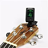 Digital Tuner For Acoustic Electric Guitar Bass Violin Ukulele Chromatic Clip On (A)