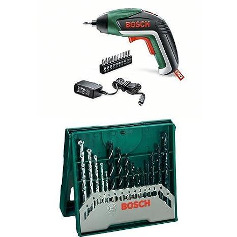 Bosch IXO - Atornillador a batería IXO Basic + Pack con 15 brocas para metal, piedra y madera, perforación 3- 8 mm