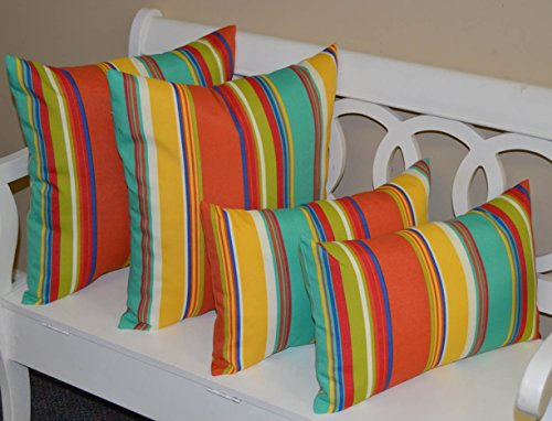 "Set of 4 Pillows ~ 2 20"" Square & 2 Rectangle / Lumbar Coral, Yellow, Turquoise, Red, Blue, Green, White Bright / Colorful Stripe Indoor / Outdoor Pillows"