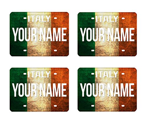 BleuReign(TM) Personalized Custom Name License Plate Italy Country Flag Set of 4 Square Coasters