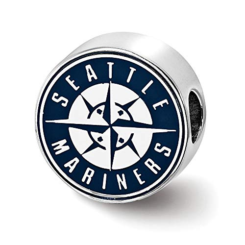 (Mia Diamonds 925 Sterling Silver Rhodium-Plated LogoArt Seattle Mariners Enameled Bead Charm for Charm Bracelet)