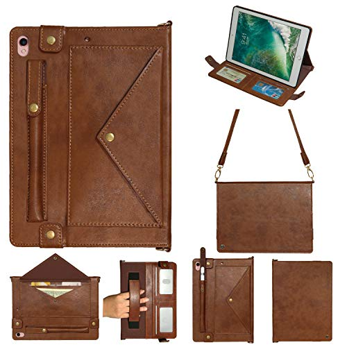 Price comparison product image iPad mini 4th Gen Case,  Multi-function Wallet Protective Cover with Card Slot / Cash Pocket / Pen Holder / Hand Strap / Classic Buckle Closure Shoulder Bag Book Case for iPad Mini 1 / 2 / 3 / 4 / 5 7.9 inch, Brown