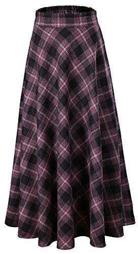 (Vocni Women Flared Plaid A-Line Winter Wool Blend Midi Long Skirt,Purple Plaid,US M/Tag 2XL (Waist 32.6