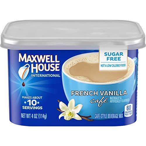 Maxwell House International Sugar Free French Vanilla Cafe Instant Coffee, Caffeinated, 4 oz Can (Pack of 4)