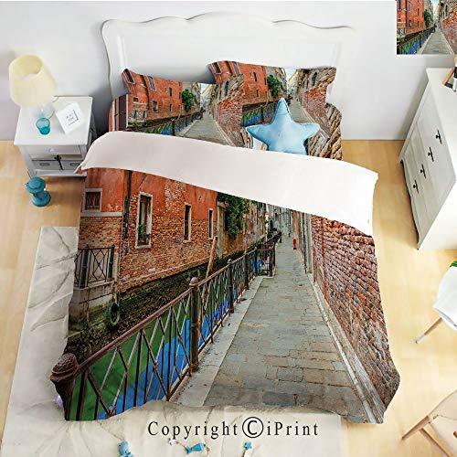 (Deep Pocket Bed Sheet Set,Empty Idyllic Streets of Venezia Travel Destination Romantic Vacation Old Buildings,Multicolor,Queen Size,Wrinkle Fade Resistant,4-Piece Set)