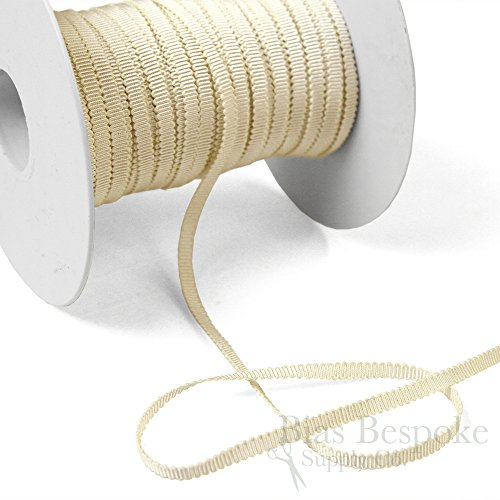 (3 Yards of Vera 3/16'' Cotton & Viscose Petersham Grosgrain Ribbon, Cream, Made in Italy)
