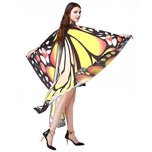 VICCKI Women Butterfly Wings Shawl Scarves Ladies Nymph Pixie Poncho Costume Accessory Yellow ()