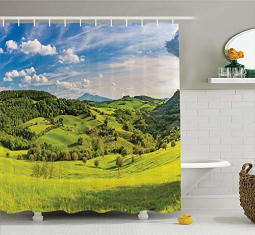 Room Decorations Shower Curtain Set By Ambesonne, Tuscany, Italy Sunlight Homestead Plantation Farms Pathway Greenery Picture, Bathroom Accessories, 84 Inches Extralong
