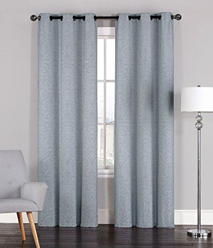 Pair of Adelaide Crinkled Light Gray Window Curtain Panels w/Grommets 96